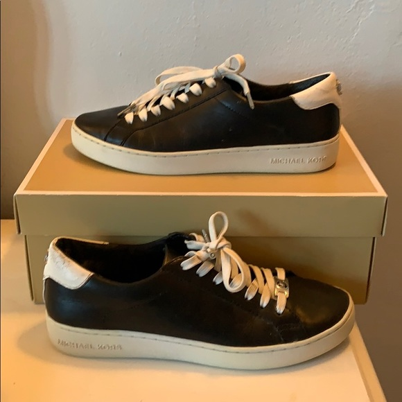 Michael Kors black leather sneakers size 8